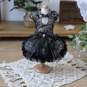 Free Shipping Handmade Dog Clothes Dog Dress Black Lace Puff Sleeve Court Style Evening Party Pet Cats Outfit Poodle Maltese