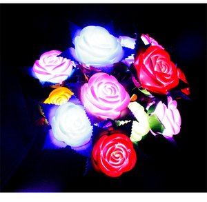 Valentine's Day LED Rose Flower Luminous Glowing Fake Flowers Home Wedding Decoration Light Up Rose Flower Gifts For Mother's Day Z188
