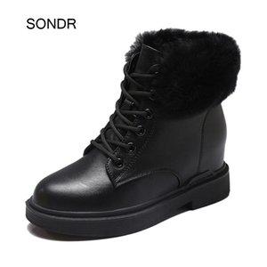 Chaussures femmes a augmenté Mode d'hiver Martin Bottes en cuir réel Mesdames chaussures Botas Femme de chaud mujer Leopard Rétro Bottes Noir