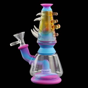 180mm tall silicone tobacco water pipe Unbreakable Bongs Hookah Silicone Smoking Water Pipes Bongs dab rig with glass bowl