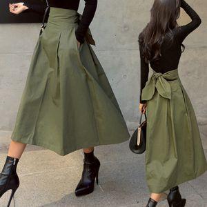 shintimes Юбки Женская корейской моды сплошной цвет Большой свинг дамы юбка Длинная юбка осень Дикий высокой талией лук Тонкий Юбки 201017