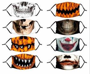 Mask Reusable 3D Painting Pumpkin Grimace Cotton Face Mask Reusable Protective PM2.5 Carbon Filters Washable Adult Kid Face Masks EWC3045