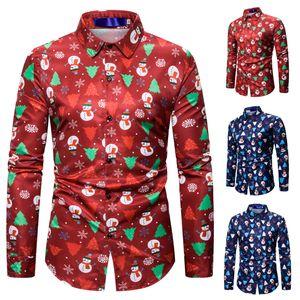 Christmas Floral Shirt Long Sleeve Xmas Casual T-Shirt Snowman Blouse Men's Clothing Hot Sale Party Shirt
