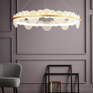 Art Deco rotonda del metallo dell'oro acrilico LED Lampadari casa Hotel Living Room Decor Ciondolo lampada