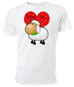 дизайнеры балахон I Love Эве Cartoon Sheep Выбор размера цветов Летние футболки толстовка