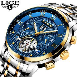 Часы Lige Mens Top Brand Business Мода Автоматические механические часы Мужчины Полная сталь Спорт Водонепроницаемые Часы Relogio Masculino LJ201124