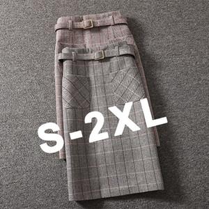 Jupe de hanche d'une belle-bourse d'hiver Femme Femme Version coréenne Jupe à carreaux de laine Femme Mid-Longueur Haut-Taille