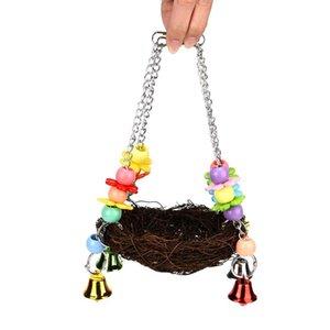 Bell Christmas Crafts Accessories Jingle Bells Pet Bird Nest Hammock Swing Hanging Chew Toys Parrot Parakeet Budgie Cockatiel