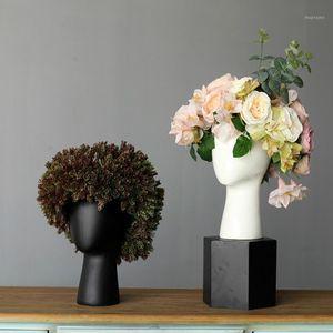 Vasi creativi Bianco Bianco Vaso in ceramica Scandinava Design Design casa decorazione di nozze in porcellana a forma di testa vasi1
