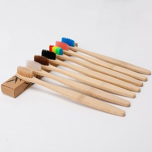 Color Head Bamboo Toothbrush Wholesale Environment Wooden Rainbow Bamboo Toothbrush Oral Care Soft Bristle DHL Free Shipping