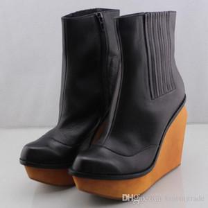 Mode Frau Jeffrey Stiefel Brisbane Laufsteg Stiefelette Der Wolf Stiefel In Schwarz-Keil-Absatz-Clogs Frauen Campbell Schuhe