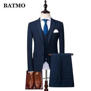 BATMO 2020 new arrival high quality skinny casual suits men,men's wedding dress,jackets+pants+vest XZ152