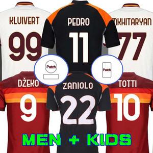 Futbol Formaları Roma De Rossi Dzeko Zaniolo Totti Perotti Pedro 20 21 Futbol Gömlek 2020 2021 Erkekler Kids Kiti Üniforma Maillot Üçüncü Pastore