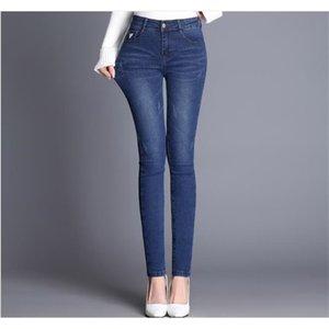 Wywan Pantalones Jeans Color Negro Donna Estirar Bottoms Pantalones flacos para mujer Y200417