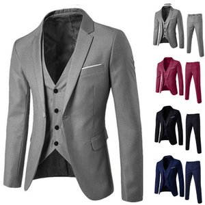 3 Piece Mens Blazer for Wedding Slim Fit Business Office Groom Party Jacket Costumes Men Suit with Pants Vest Costume Homme