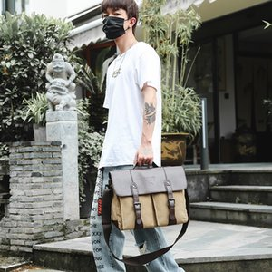 Quality Waterproof Canvas Bag Men 2020 New Business Casual Shoulder Briefcase Portable Mens Bag Laptop Cross body Bag Khaki