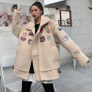 Vintage Kış Kuzu Yün Kalın Coat Bahar Faux Kürk Uzun Ceket Kadınlar Kuzu Kürk Ceket Kış Süet Deri Ceket 201014