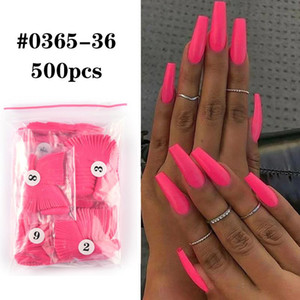 500pcs bag False Nail Tips Full Coverage Ballerina Solid Color Coffin False Nails UV Gel Extension Suppressing Nail Tips