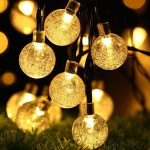 LED Solar Powered Waterproof Crystal Ball Christmas String Outdoor Lighting Courtyard Decorations Lights 30 Bulbs 6.5m DHE2082