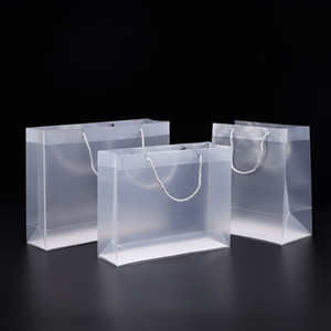 8 Size Frosted PVC plastic gift bags with handles waterproof transparent PVC bag clear handbag party favors bag GGB2667