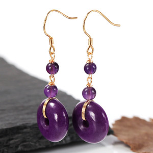 Alloy inlaid with purple mica earrings, natural gemstone earrings, gemstone earrings, stud pin 925 Silver