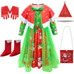 Baby Girl holidays Clothes Kids Dresses for Christmas Santa Claus snow Princess skirts New Year Party Costume dress with Cape Hat Bag Shoes