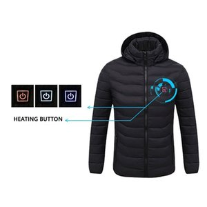 NWE Men Winter Warm USB Heating Jackets Smart Thermostat Pure Color Hooded Heated Clothing Waterproof Warm Jackets 201013
