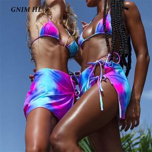 GNIM Three Pieces Swimsuit Women Bandage Bikini Set 2020 Sexy Triangle Micro Swimwear High Cut Beachwear Swim Bather Suit Women 1006