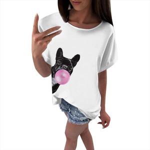 Dog Head Print T Shirt Women Short Sleeve O Neck Loose Funny Lovely Tshirt Summer Women Tee Shirt Tops Camisetas Mujer
