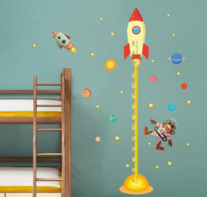 Wholesale Outer Space Planet Monkey Pilot Rocket Home Decal Height Measure Wall Sticker For Kids Room Baby Nursery Gro sqczYB bdenet