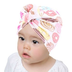 European Cotton Donut Baby Hair Cap For Sleeping Printing Turban Hat American Children's Hood Elastic Bonnet Headband