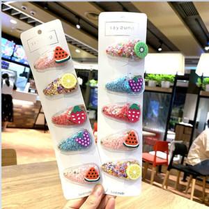 5 Adet / Set Renkli Quicksand Şeffaf Çocuk Çocuk Meyve Firkete PVC Yan Klip Bebek Bb Klip Bobby Pin Barrette Saç Aksesuarları CZ120503