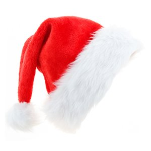 Plush Red Velvet Santa Hat with White Cuffs Party Caps For Boys Girls adult Christmas Gifts High Quality Soft Hats Hair Accessories DDE2202