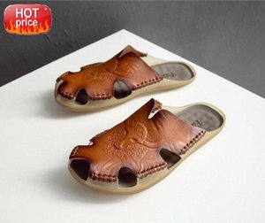 2019 New Fashion Summer Shoes Men's Slippers Genuine Leather Beach Sandals Men Casual Shoes Flip Flops Big Size 38~46 #r712