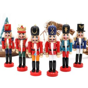 2021 Wood Ornaments Christmas 6pcs Nutcracker Wood Christmas Figures 12cm Walnuts Soldiers Dolls Desktop Decor Christmas Gift 201023