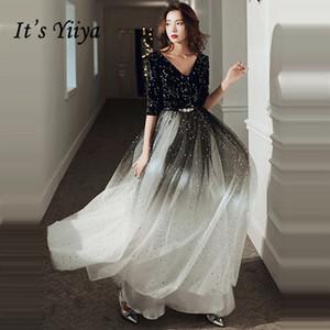 Es ist Yiiya Abendkleid für Frauen Gradienten Schwarze Glänzende Abendkleider V-Ausschnitt Formale Kleider HAFL SHLEVE ROBE DE SOIREE LJ201224