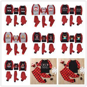Natale Plaid Pigiama Famiglia Corrispondenza 2020 2021 Maschera Renna Santa Clause due pezzi Outfits Pajamas Set Notte Abbigliamento Sleepwear E110301