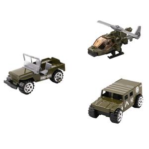 3pcs / set 1:64 Jeep voiture Battlefield modèle hélicoptère de voiture Toy Soldier Figures Guerre Playset jeu Army Men ACCS