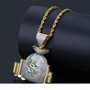 New Fashion Men Hip Hop Necklace High Quality Gold Plated Full CZ Purse Pendant Necklace for Men Women Nice Gift