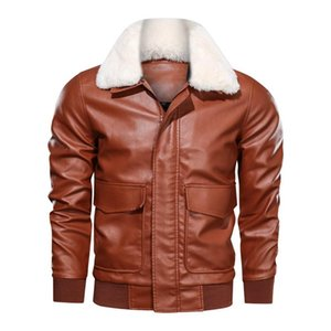 Men's Fur & Faux 2021 Autumn Lapel Cashmere PU Leather Casual Washed Motorcycle