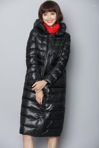 2019 winter new down jacket women's coat Large size long section thick warm Hooded black1