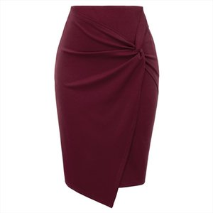 Black Wine Ruched Skirts Womens Spring Summer Solid Color Asymmetrical Hem Wrap Front Skirt Ladies Stretch Pencil Office Skirt