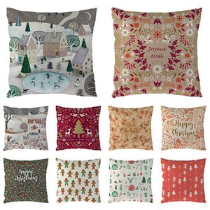 Christmas Deer Gifts Pattern Cotton Linen Throw Pillow Cushion Cover Car Home Sofa Decorative Pillowcase 45x45cm Home Decor 1674
