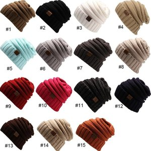 13pcs DHL Knitted Hat Beanies Hat CC Women Warm Winter Simple Style Chunky Soft Stretch Men Knitted Beanie Skull Hats 15 Colors CPA3303