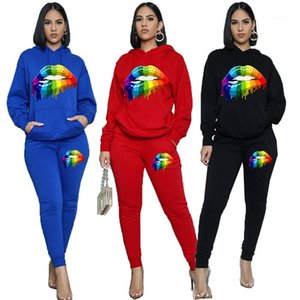 Piece Pants Damen Designer Langarm-Kapuzenpulli und beiläufige Hosen Mode-Herbst-Frauen 2pcs Outfit Sets Lippenmuster Zwei