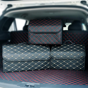 Car Storage Bag PU Leather Trunk Organizer Box Portable Pocket Folding Storage Bag Car Trunk Stowing Tidying Organizer Bags