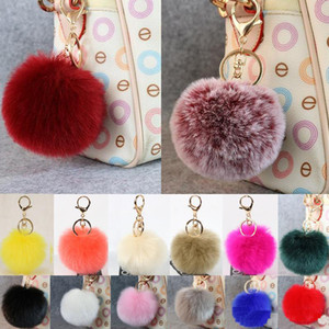 Gold 8CM Rabbit Fur Ball Keychain fluffy keychain fur pom pom llaveros portachiavi porte clef Key Ring Key Chain For Bag