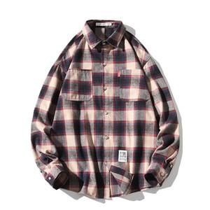 الرجال عارضة القمصان خمر منقوشة للرجال المتناثرة الذكور طويلة الأكمام قميص جيب الديكور فضفاض قميص أوم زائد الحجم M-5XL