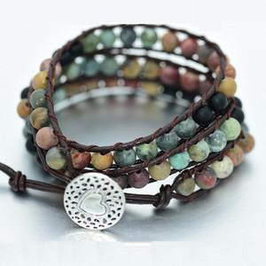 متعدد الطبقات أساور الحجر الطبيعي المنسوجة البوهيمي سوار جلد منسوجة يدويا أنيقة سوار