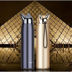 A-Double Wall Thermos Stainless Steel Vacuum Flasks Cups Cute Cat Fox Ear Thermal Coffee Milk Travel Water Bottle Mug Cup 320ml